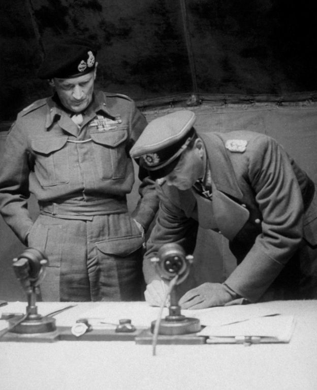Field Marshal Montgomery witnessed General Kienzl sign the surrender of the German forces in Northern Germany, Holland and Denmark
