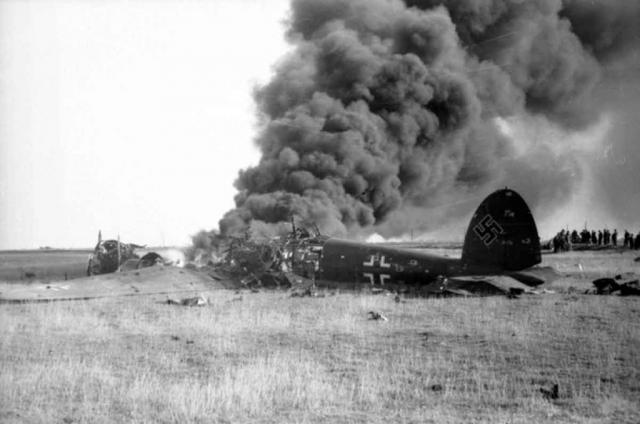 A downed He 111 during the Battle of Britain