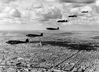 A squadron of German Heinkel He 111 bombers over Paris in 1940
