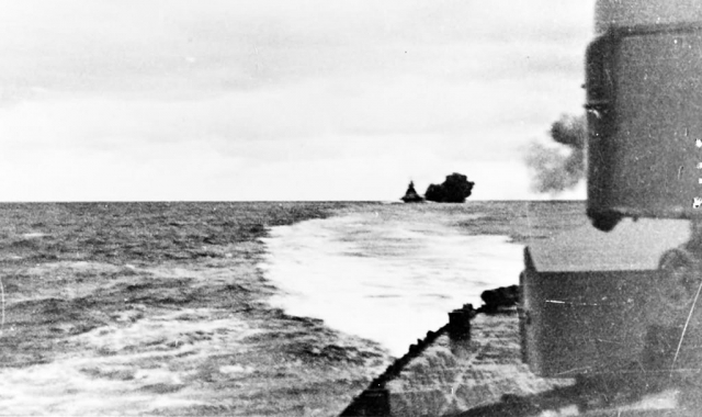 Bismarck firing on HMS Prince of Wales and HMS Hood