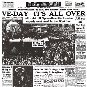 Daily Mail front page 8th May 1945