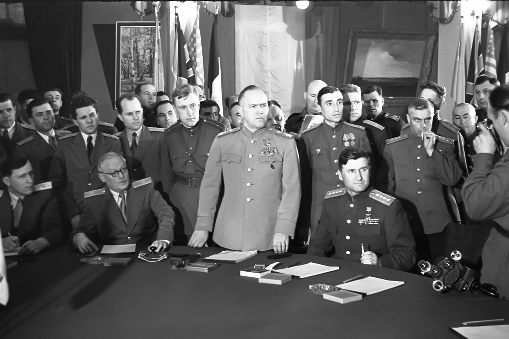Georgy Konstantinovich Zhukov while sigining the surrender, 8 May 1945