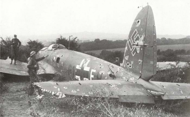 He 111 downed during the Battle of Britain