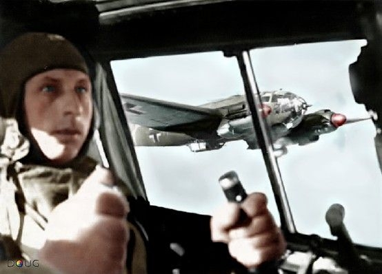 He-111 - pilot and another He 111 on the back