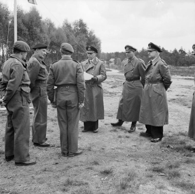 Field Marshal Montgomery receives German Admiral Von Friedeburg and other members of the surrender delegation at 21st Army Group Headquarters near Lüneburg, 3 May 1945.