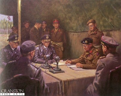 The German Surrender at Luneberg Heath, May 1945 by Terence Cuneo.